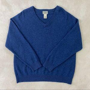 LL BEAN Mens 100% Lambs Wool Sweater V-Neck Sz L